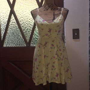 Yellow dress with pink roses